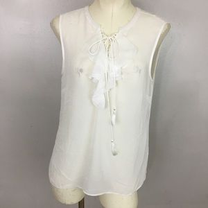 Laundry By Shelli Segal Ruffle Lace Up Blouse 8